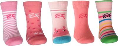 Ezzi Feet Baby Girl's Self Design, Striped, Solid Crew Length Socks