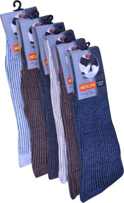 Neulon Men's Striped Crew Length Socks