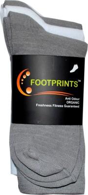 Footprints Men's Solid Crew Length Socks