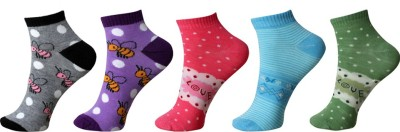 Khi Women's Geometric Print Ankle Length Socks(Pack of 5) at flipkart