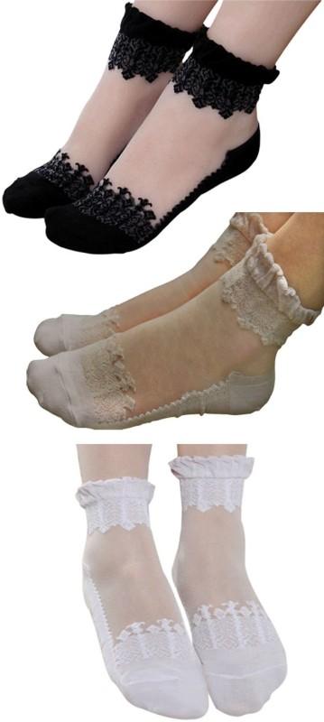 Brandstand Women's Self Design Ankle Length Socks(Pack of 3)