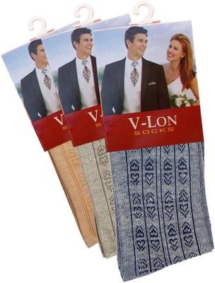 V-Lon Men's Printed Crew Length Socks