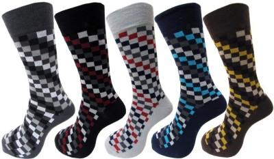 Avm Hw Velvet Men's Self Design, Checkered Crew Length Socks