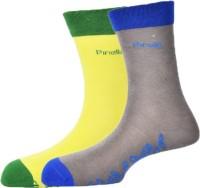 Pinellii Italian Modello-2 Mens Solid Mid-calf Length Socks(Pack of 2)