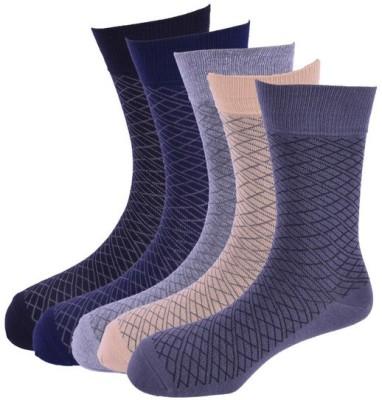 Calzini Men's Geometric Print Crew Length Socks