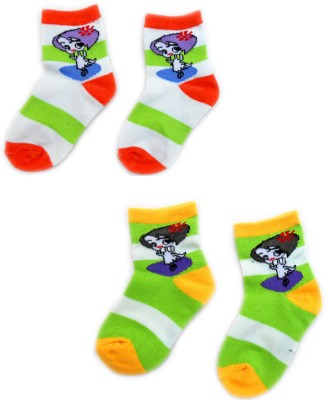 Smartkshop Baby Girl's Self Design, Striped Quarter Length Socks