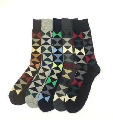 Sir Michele Cambridge4 Men's Geometric Print Crew Length Socks