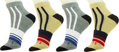 Neska Moda Mens Striped Ankle Length Socks(Pack of 4)