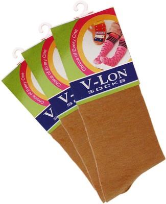 V-Lon Women's Solid Crew Length Socks