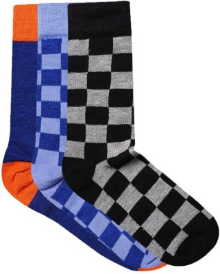 JamsSocks Men's Solid, Checkered Crew Length Socks