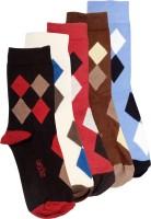 Lefjord Mens Printed Crew Length Socks(Pack of 5)