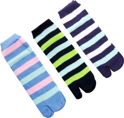 Neska Moda Women's Striped Ankle Length Socks(Pack of 3) at flipkart