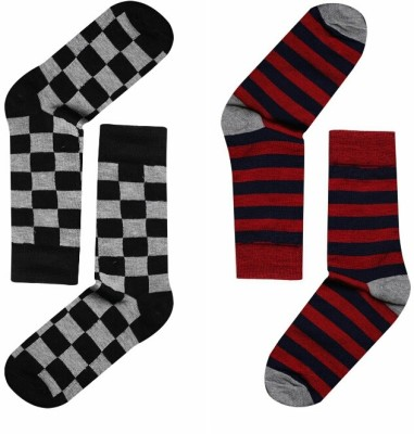 JamsSocks Men's Striped, Checkered Crew Length Socks