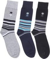 M.I.S Mens Geometric Print Crew Length Socks(Pack of 3)