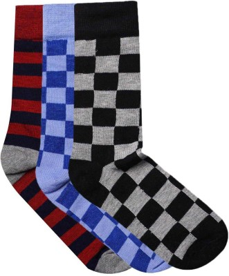 JamsSocks Men's Checkered, Striped Crew Length Socks