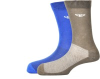Pinellii Italian Terry Airflow Blue & Grey Mens Solid Mid-calf Length Socks(Pack of 2)