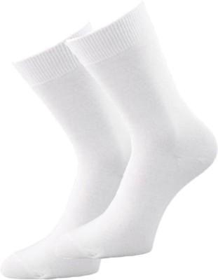 Alfa Blueline White Mens Solid Crew Length Socks(Pack of 2)
