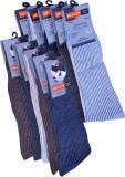 Neulon Men's Striped Crew Length Socks