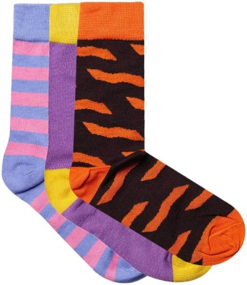 JamsSocks Men's Solid, Striped, Animal Print Crew Length Socks