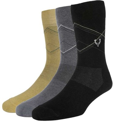 Allen Solly Mens Self Design Mid-calf Length Socks(Pack of 3)