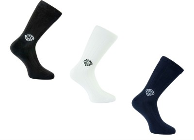 Cottoniche Men's Solid Mid-calf Length Socks, Crew Length Socks