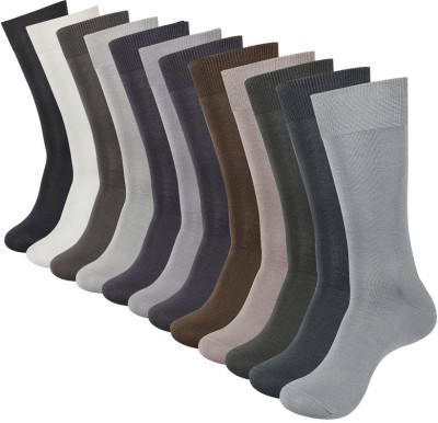 V-Lon Men's Solid Crew Length Socks