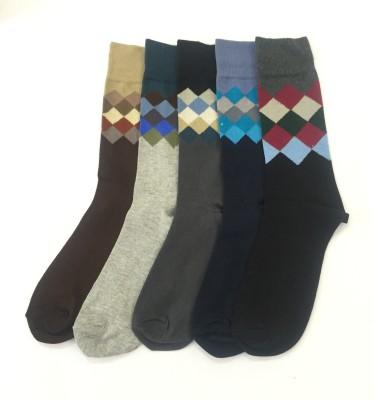 Sir Michele Cambridge2 Men's Geometric Print Crew Length Socks
