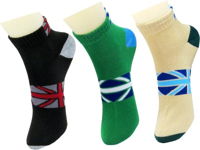 Neska Moda Men's Geometric Print Ankle Length Socks