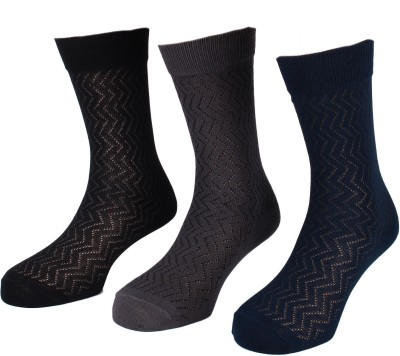 Lacarte Men's Self Design Crew Length Socks