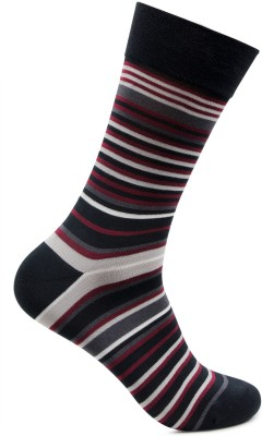 Bonjour Mens Striped Crew Length Socks