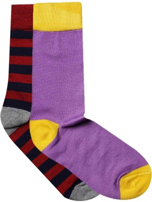 JamsSocks Women's Solid, Striped Crew Length Socks