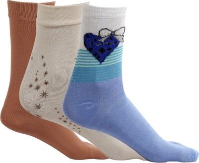 Maccaino Women's Self Design Crew Length Socks