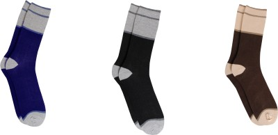 Bs Spy Striped Cotton Lykra Socks Pack Of 3 Men's Striped Crew Length Socks