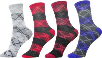 Neska Moda Women's Checkered Ankle Length Socks(Pack of 4) at flipkart
