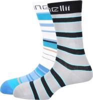 Pinellii Italian Stripe 4 & 5 Mens Striped Mid-calf Length Socks(Pack of 2)