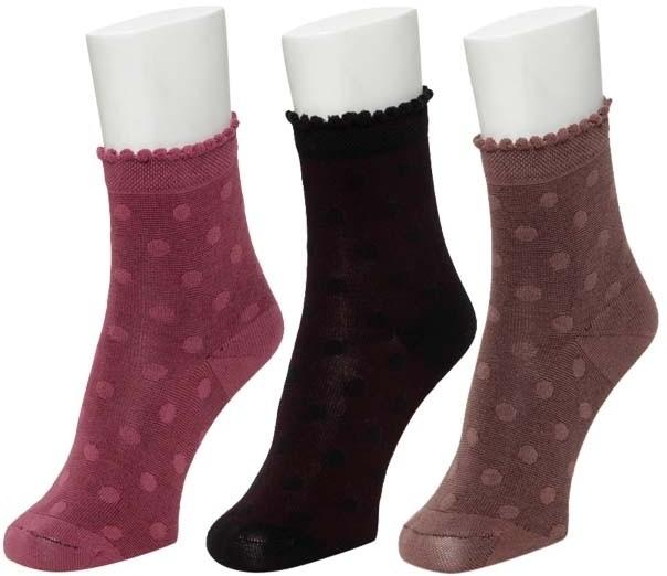 Nxt 2 Skn Womens Self Design Crew Length Socks(Pack of 3)