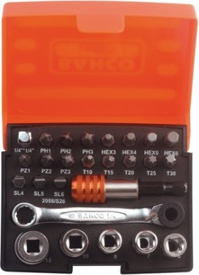 Bahco 26pcs Small Ratcheting Wrench Socket Set(Pack of 26)