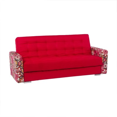 Irony Furniture NA Solid Wood Double Sofa Bed(Finish Color - Red Mechanism Type - Fold Out)