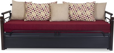 FurnitureKraft SCB8017 with Maroon Mattress Metal Single Sofa Bed