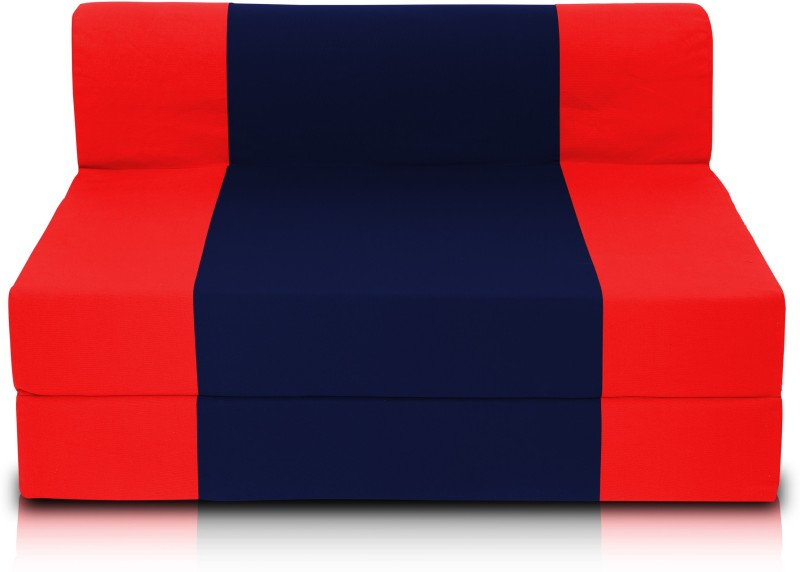 Dolphin Foam Single Sofa Bed(Finish Color - Red and N.Blue Mechanism Type - Fold Out)