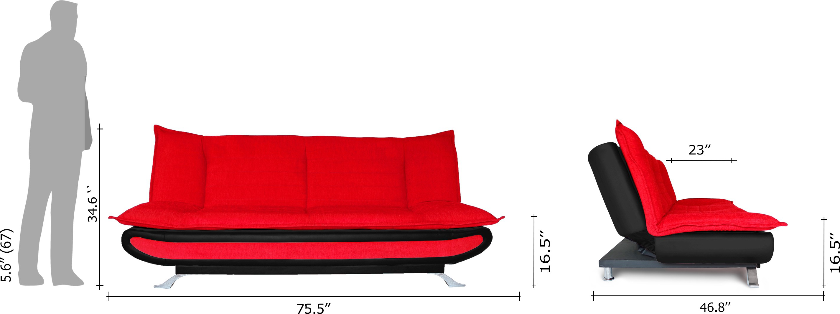 View Dolphin Double Foam Sofa Bed(Finish Color - Black and Red Mechanism Type - Fold Out) Furniture (Dolphin)