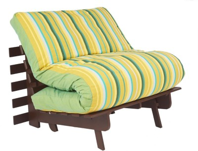ARRA Engineered Wood Single Futon(Finish Color - Green Lines Mechanism Type - Fold Out)