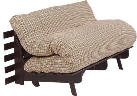 ARRA Engineered Wood Single Futon(Finish Color - Brown Check Mechanism Type - Fold Out)