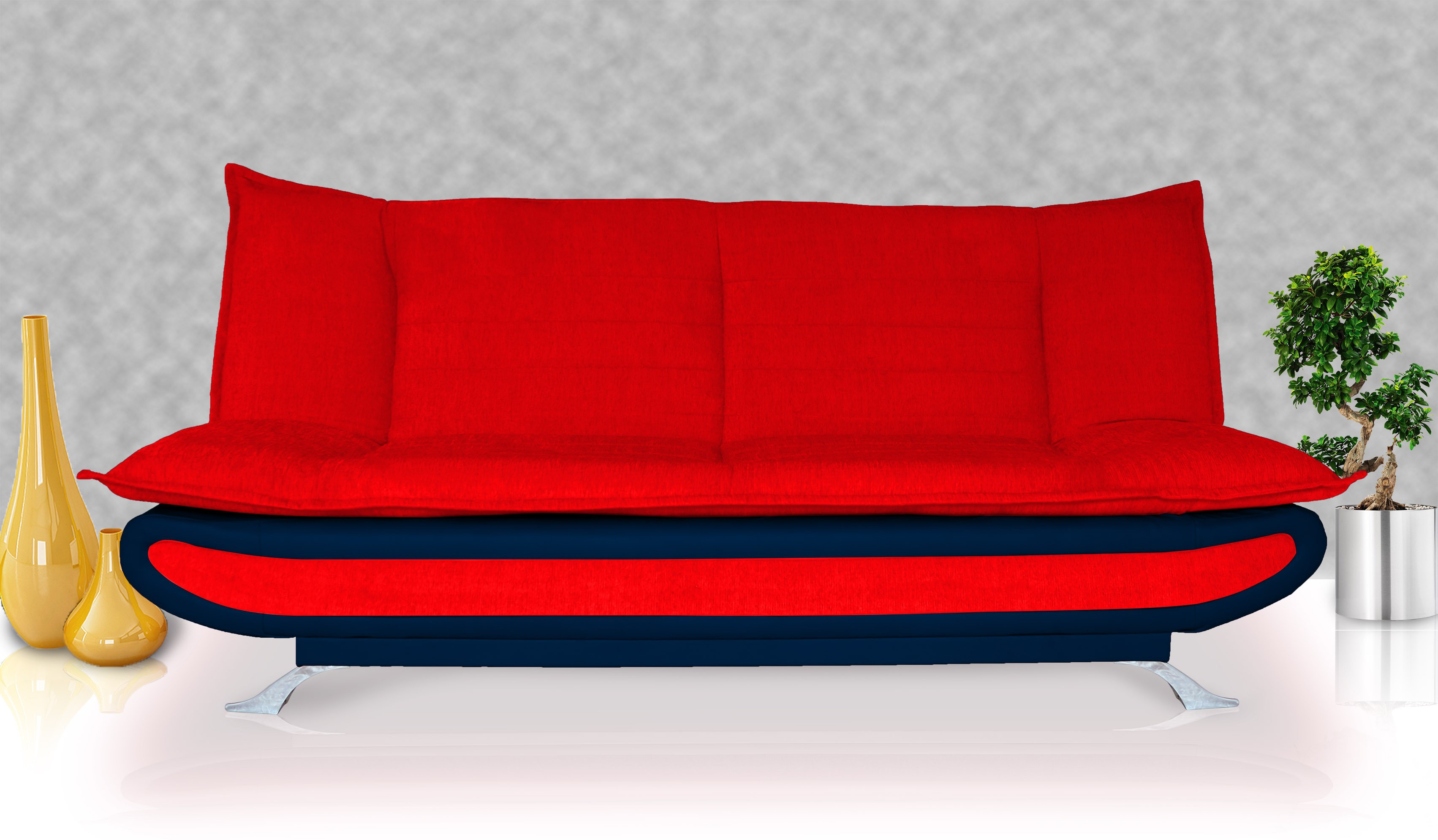 View Dolphin Double Foam Sofa Bed(Finish Color - Red and N.Blue Mechanism Type - Fold Out) Furniture (Dolphin)