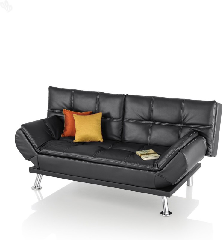 Royal Oak Leatherette Single Sofa Bed(Finish Color - Black Mechanism Type - Fold Out)