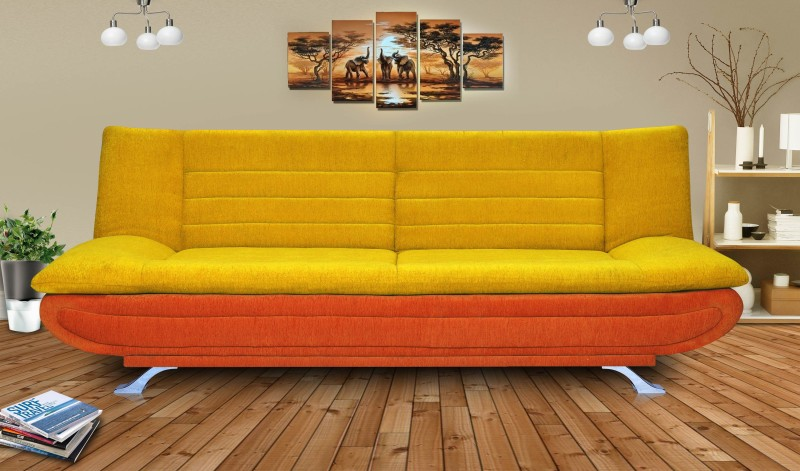 Dolphin Solid Wood Double Sofa Bed(Finish Color - Orange and Yellow Mechanism Type - Fold Out)