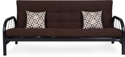 FurnitureKraft SCB8013 with Brown Mattress Metal Single Futon