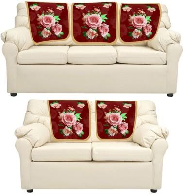 meSleep Floral_1 Leatherite Sofa Fabric(Red 0.65 m)