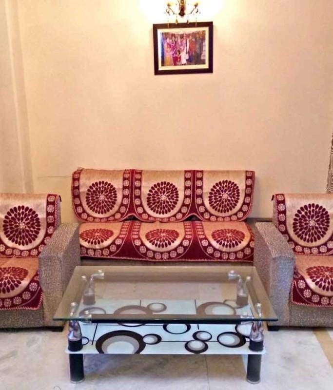 Nitin traders 9871 Sofa Fabric(Red, White 1.72 m)