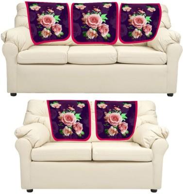 meSleep Floral Leatherite Sofa Fabric(Purple 0.65 m)